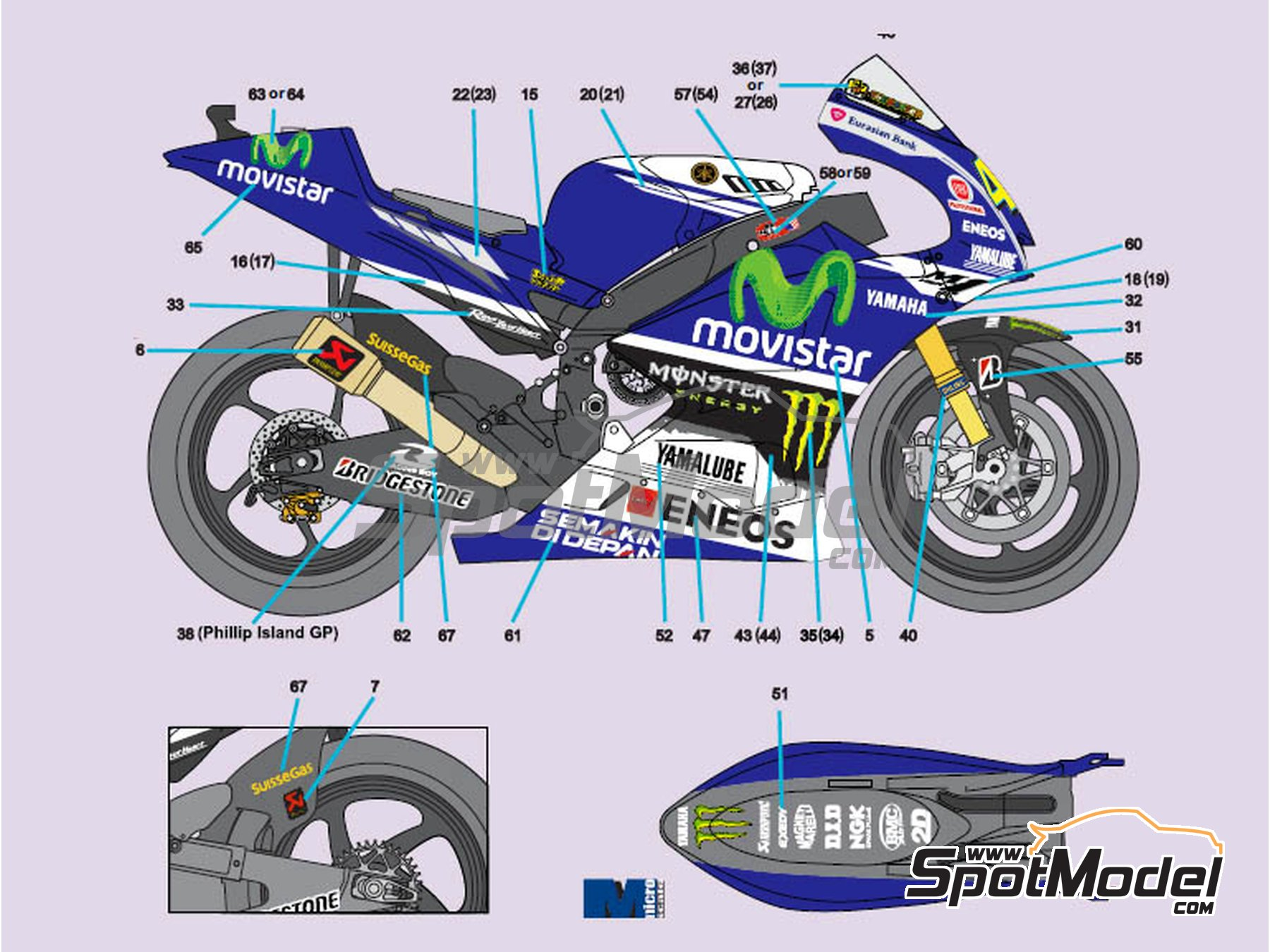 Image 2: Yamaha YZR-M1 Movistar Team - Motorcycle World Championship 2014 | Marking / livery in 1/12 scale manufactured by Nicolecron Decals (ref. NLD-068)