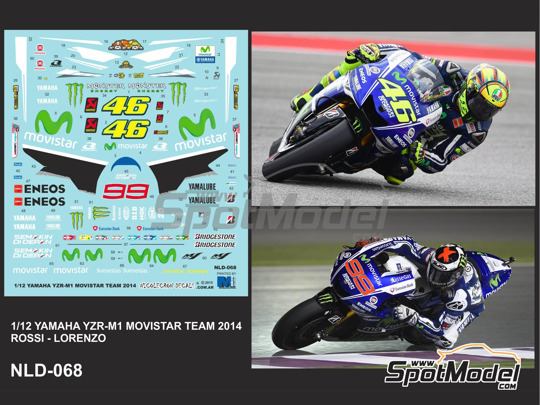 Image 3: Yamaha YZR-M1 Movistar Team - Motorcycle World Championship 2014 | Marking / livery in 1/12 scale manufactured by Nicolecron Decals (ref. NLD-068)
