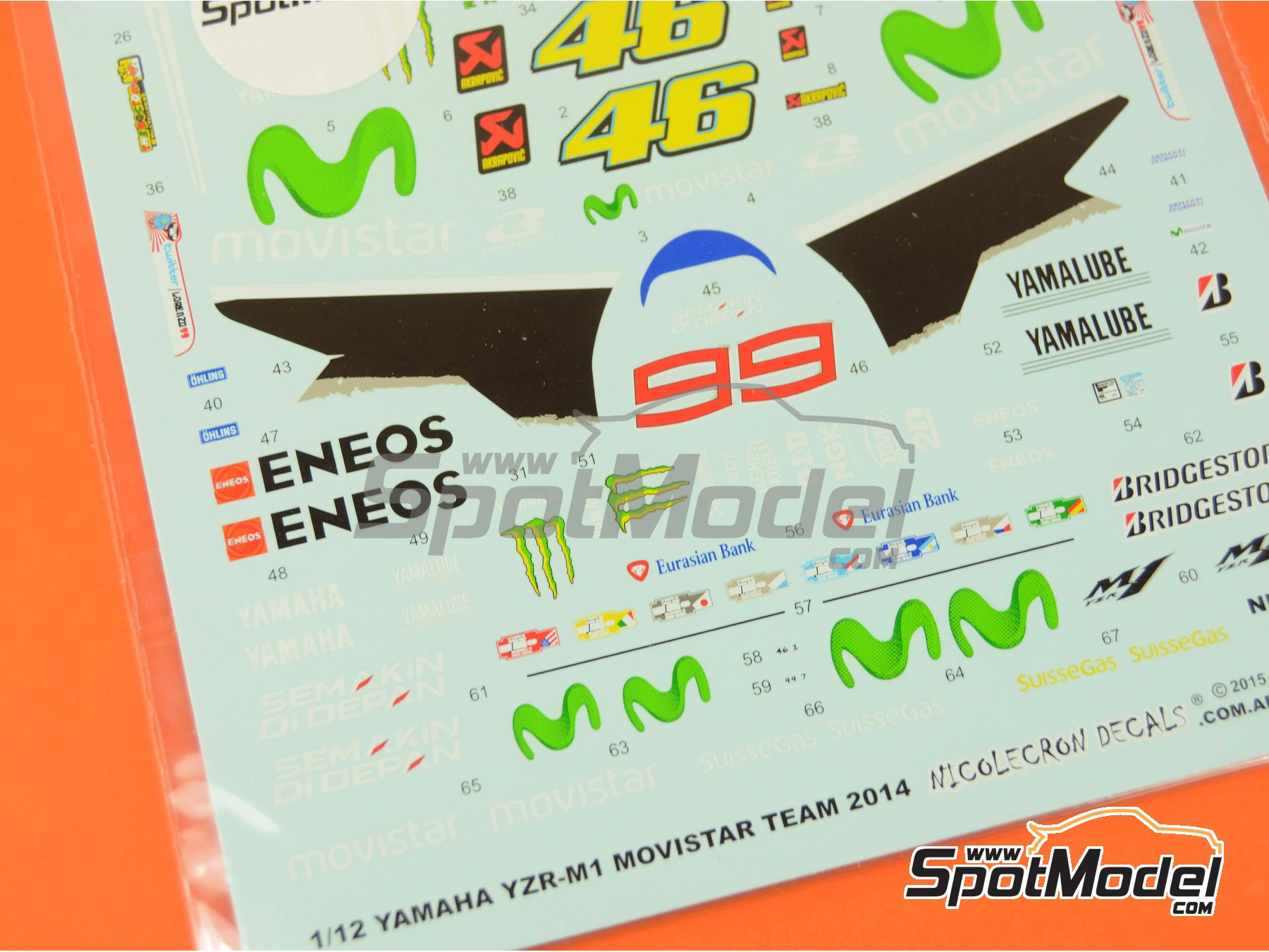 Image 4: Yamaha YZR-M1 Movistar Team - Motorcycle World Championship 2014 | Marking / livery in 1/12 scale manufactured by Nicolecron Decals (ref. NLD-068)