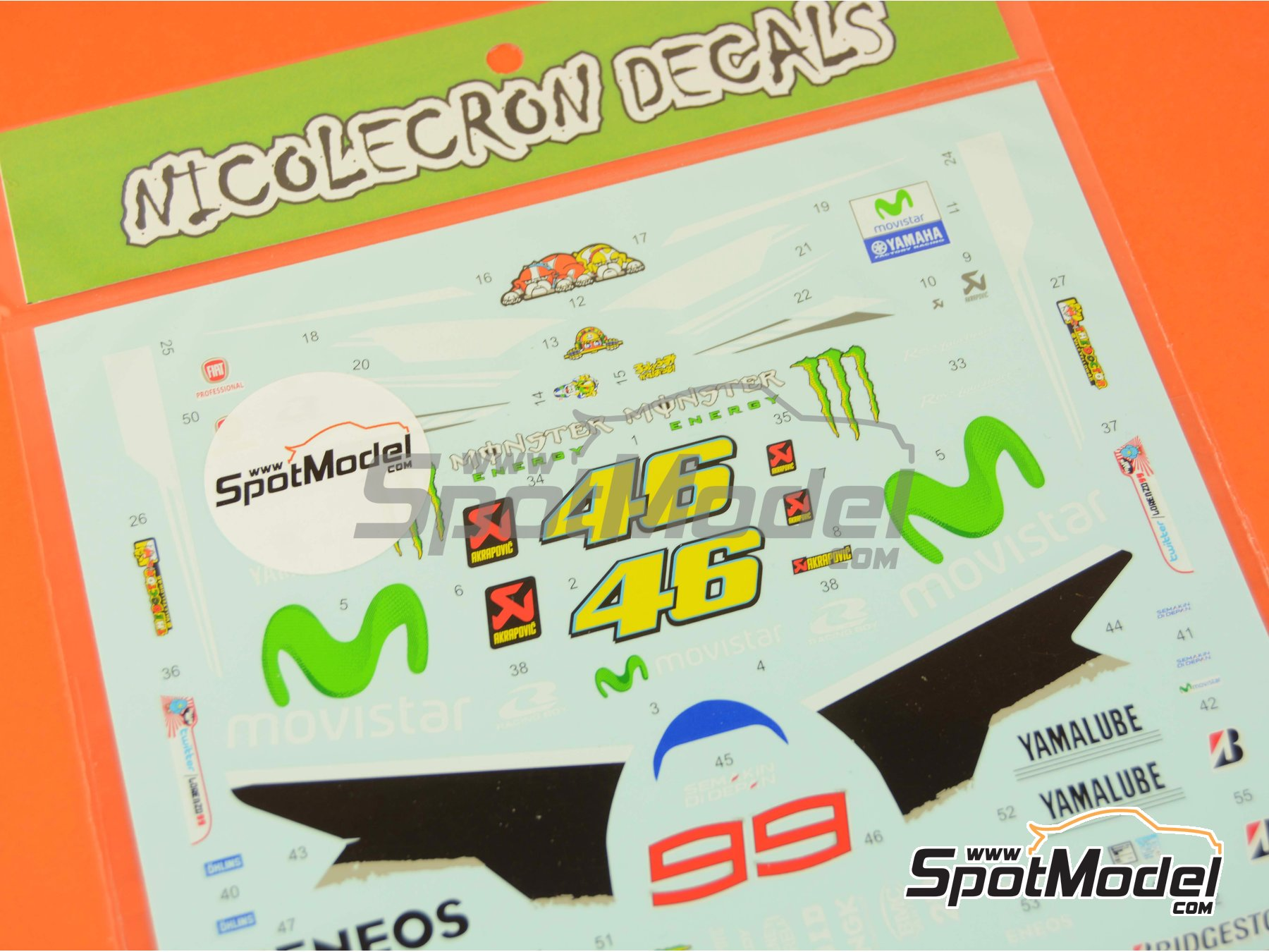 Image 6: Yamaha YZR-M1 Movistar Team - Motorcycle World Championship 2014 | Marking / livery in 1/12 scale manufactured by Nicolecron Decals (ref. NLD-068)