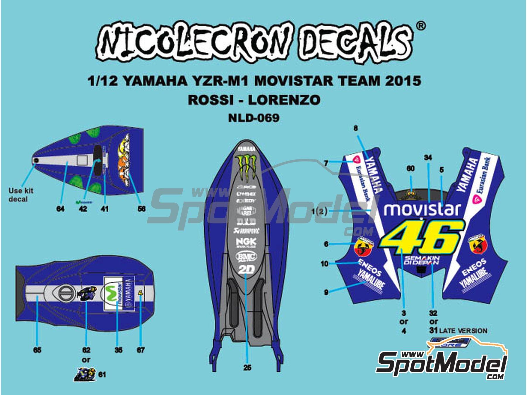 Image 1: Yamaha YZR-M1 Movistar Team - Campeonato del Mundo de Motociclismo 2015   Decoración en escala1/12 fabricado por Nicolecron Decals (ref.NLD-069)