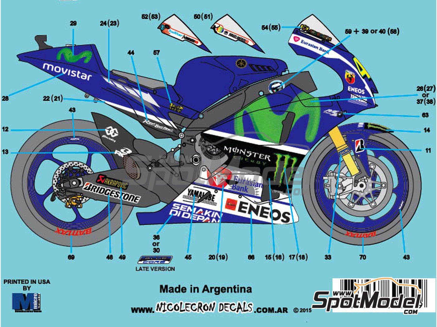 Image 2: Yamaha YZR-M1 Movistar Team - Campeonato del Mundo de Motociclismo 2015   Decoración en escala1/12 fabricado por Nicolecron Decals (ref.NLD-069)