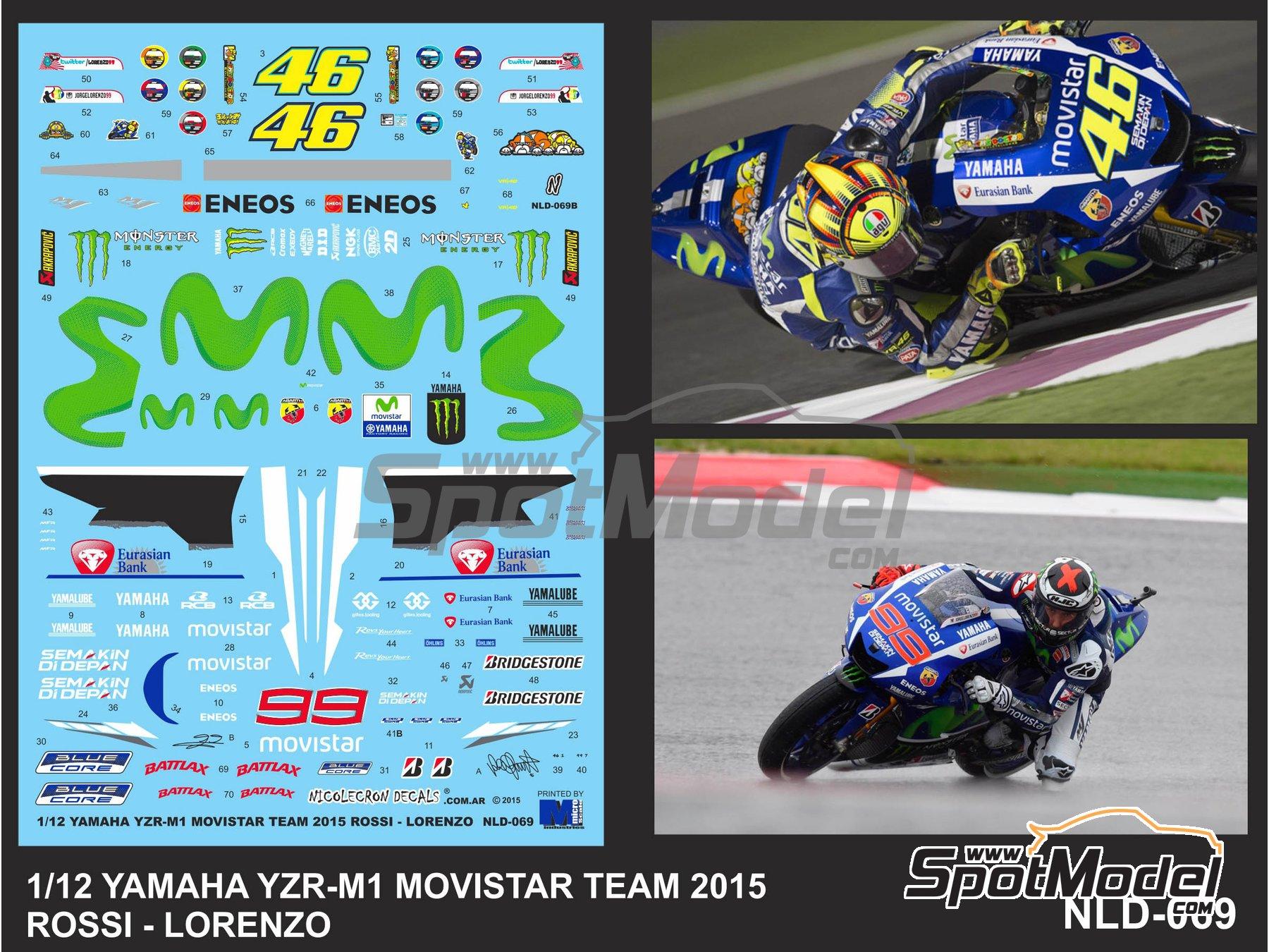 Image 4: Yamaha YZR-M1 Movistar Team - Campeonato del Mundo de Motociclismo 2015   Decoración en escala1/12 fabricado por Nicolecron Decals (ref.NLD-069)