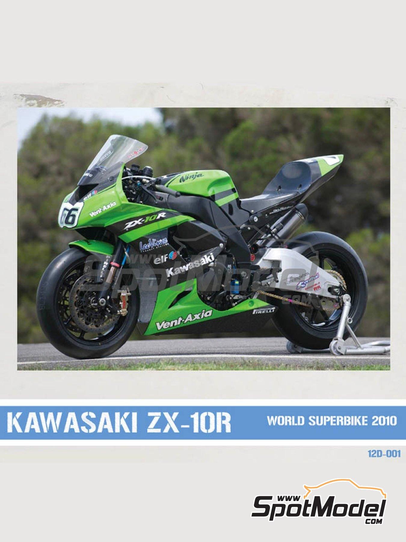 Kawasaki ZX-10R - Campeonato del Mundo de Superbikes 2010 | Decoración en escala1/12 fabricado por Pit Wall (ref.12D-001) image