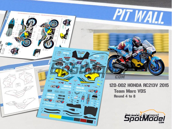Image 1: Honda RC213V - World Championship 2015 | Marking / livery in 1/12 scale manufactured by Pit Wall (ref. 12D-002)