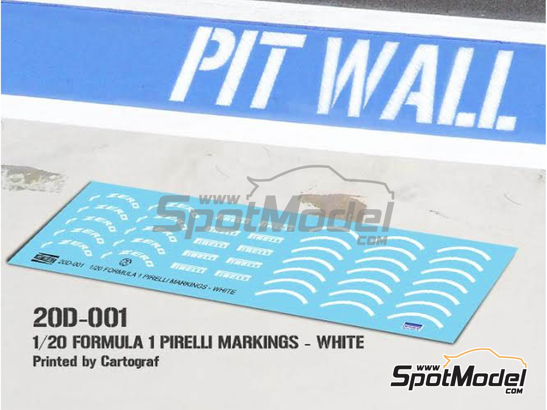 Image 1: White Pirelli P Zero Formula 1 | Logotypes in 1/20 scale manufactured by Pit Wall (ref. 20D-001)