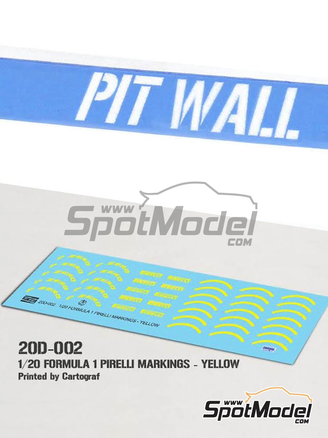 Yellow Pirelli P Zero Formula 1 | Logotypes in 1/20 scale manufactured by Pit Wall (ref. 20D-002) image