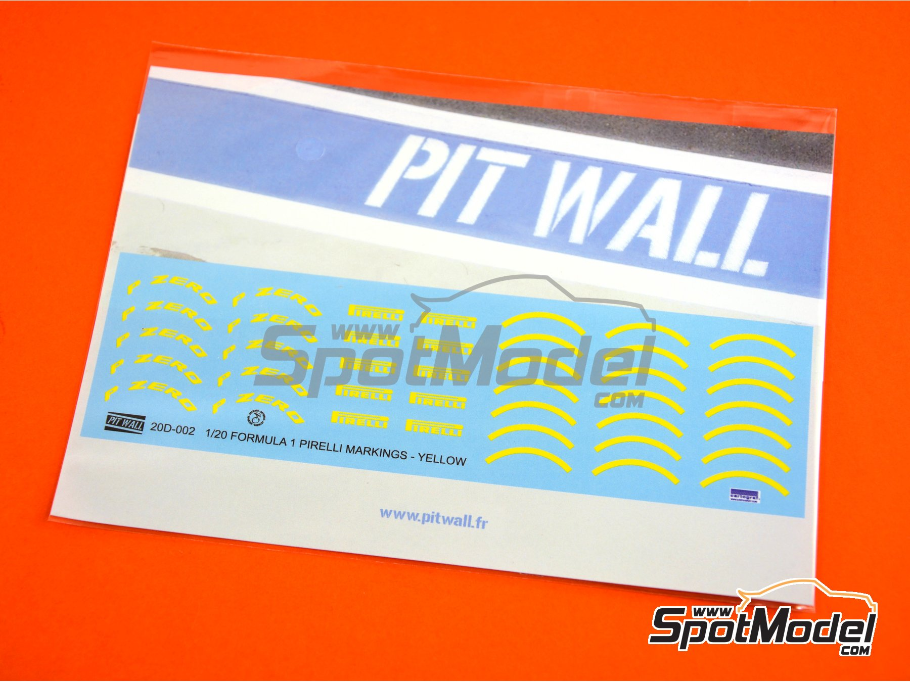Image 2: Yellow Pirelli P Zero Formula 1 | Logotypes in 1/20 scale manufactured by Pit Wall (ref. 20D-002)