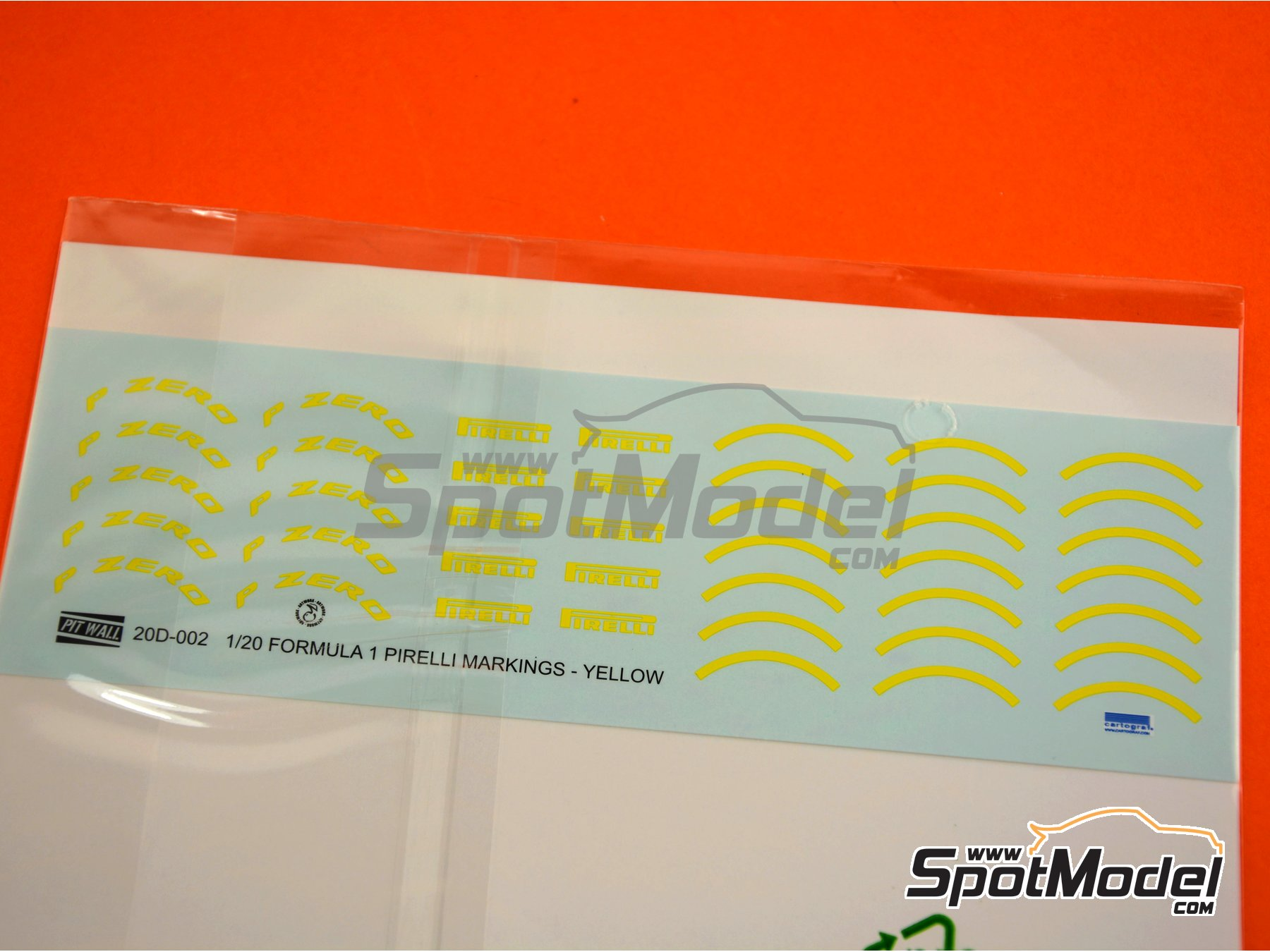 Image 3: Yellow Pirelli P Zero Formula 1 | Logotypes in 1/20 scale manufactured by Pit Wall (ref. 20D-002)