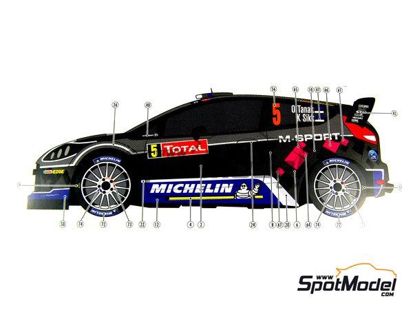 Image 19: Ford Fiesta WRC Michelin - Rally de Montecarlo - Rallye Automobile de Monte-Carlo 2012   Decoración en escala1/24 fabricado por Pit Wall (ref.D24-002)