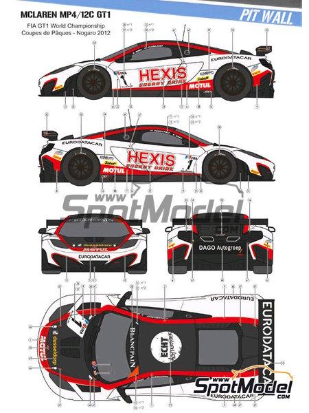 McLaren MP4-12C GT3 Hexis - Campeonato del Mundo FIA de GT 2012   Decoración en escala1/24 fabricado por Pit Wall (ref.D24-004) image