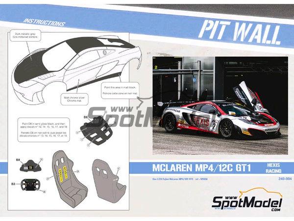 Image 1: McLaren MP4-12C GT3 Hexis - Campeonato del Mundo FIA de GT 2012   Decoración en escala1/24 fabricado por Pit Wall (ref.D24-004)