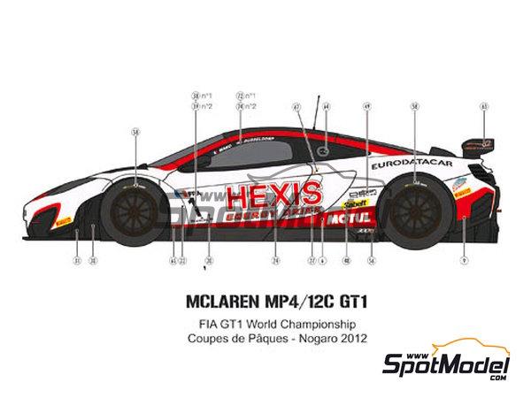 Image 3: McLaren MP4-12C GT3 Hexis - Campeonato del Mundo FIA de GT 2012   Decoración en escala1/24 fabricado por Pit Wall (ref.D24-004)