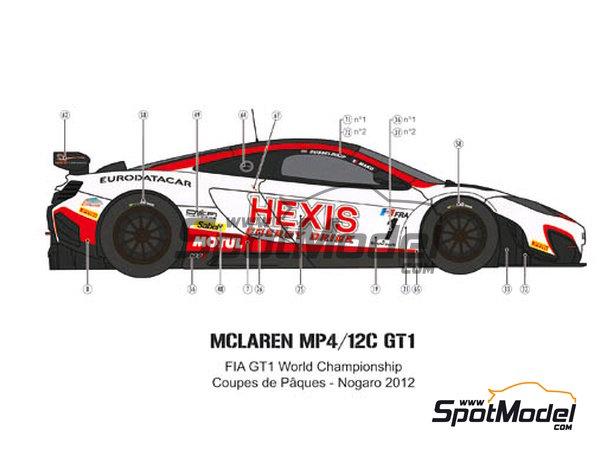 Image 4: McLaren MP4-12C GT3 Hexis - Campeonato del Mundo FIA de GT 2012   Decoración en escala1/24 fabricado por Pit Wall (ref.D24-004)