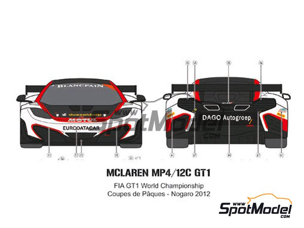 Image 5: McLaren MP4-12C GT3 Hexis - Campeonato del Mundo FIA de GT 2012   Decoración en escala1/24 fabricado por Pit Wall (ref.D24-004)