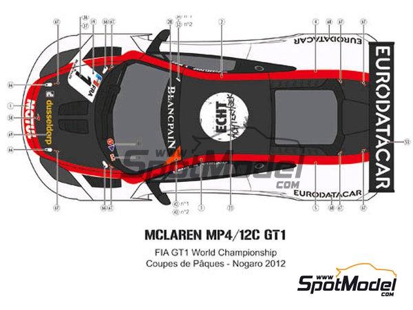 Image 6: McLaren MP4-12C GT3 Hexis - Campeonato del Mundo FIA de GT 2012   Decoración en escala1/24 fabricado por Pit Wall (ref.D24-004)