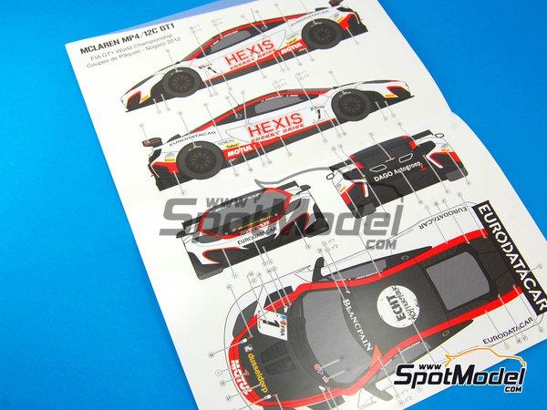 Image 9: McLaren MP4-12C GT3 Hexis - Campeonato del Mundo FIA de GT 2012   Decoración en escala1/24 fabricado por Pit Wall (ref.D24-004)