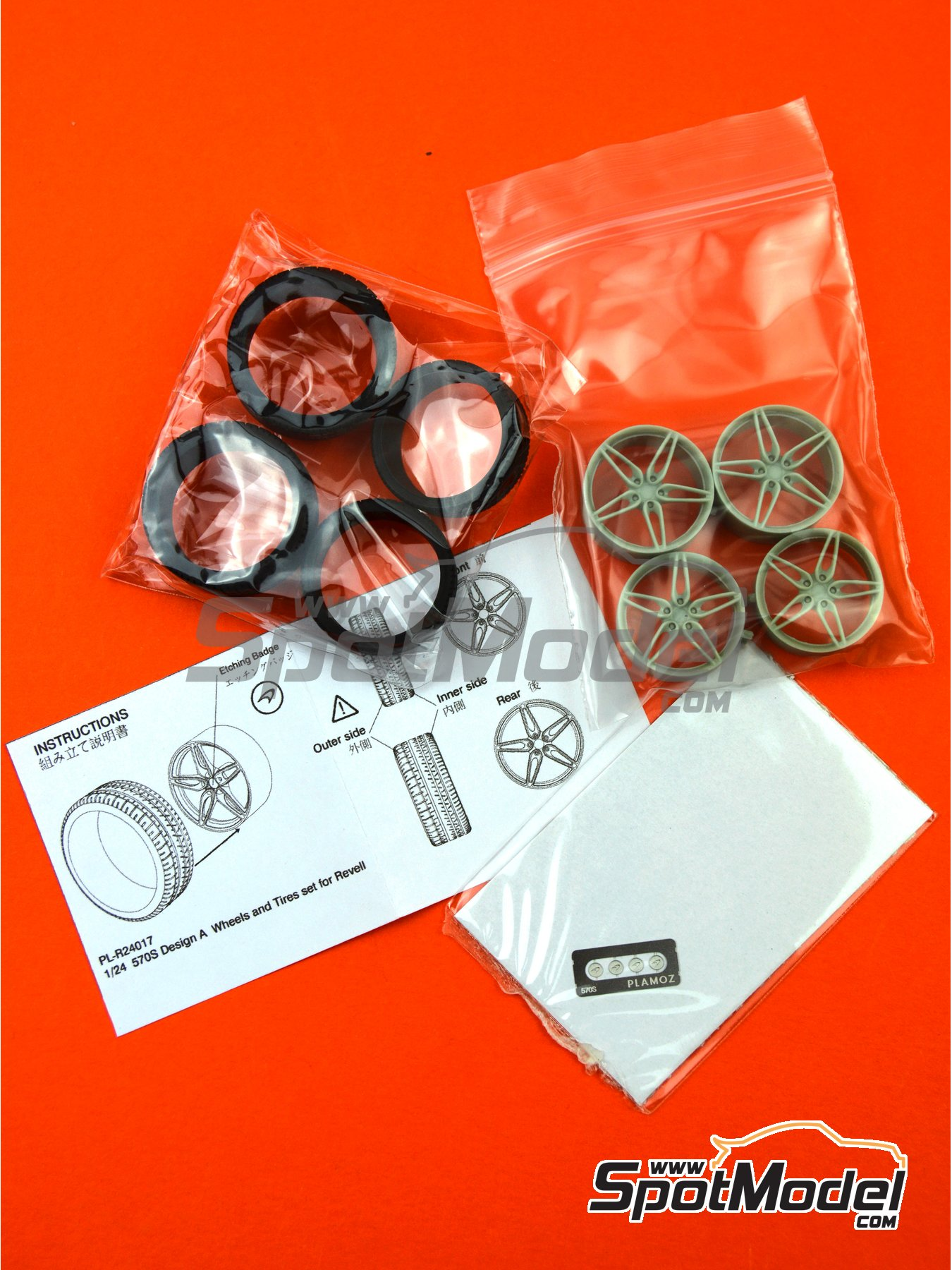 McLaren 570S Design 1 | Rims and tyres set in 1/24 scale manufactured by Plamoz (ref.PL-R24017) image
