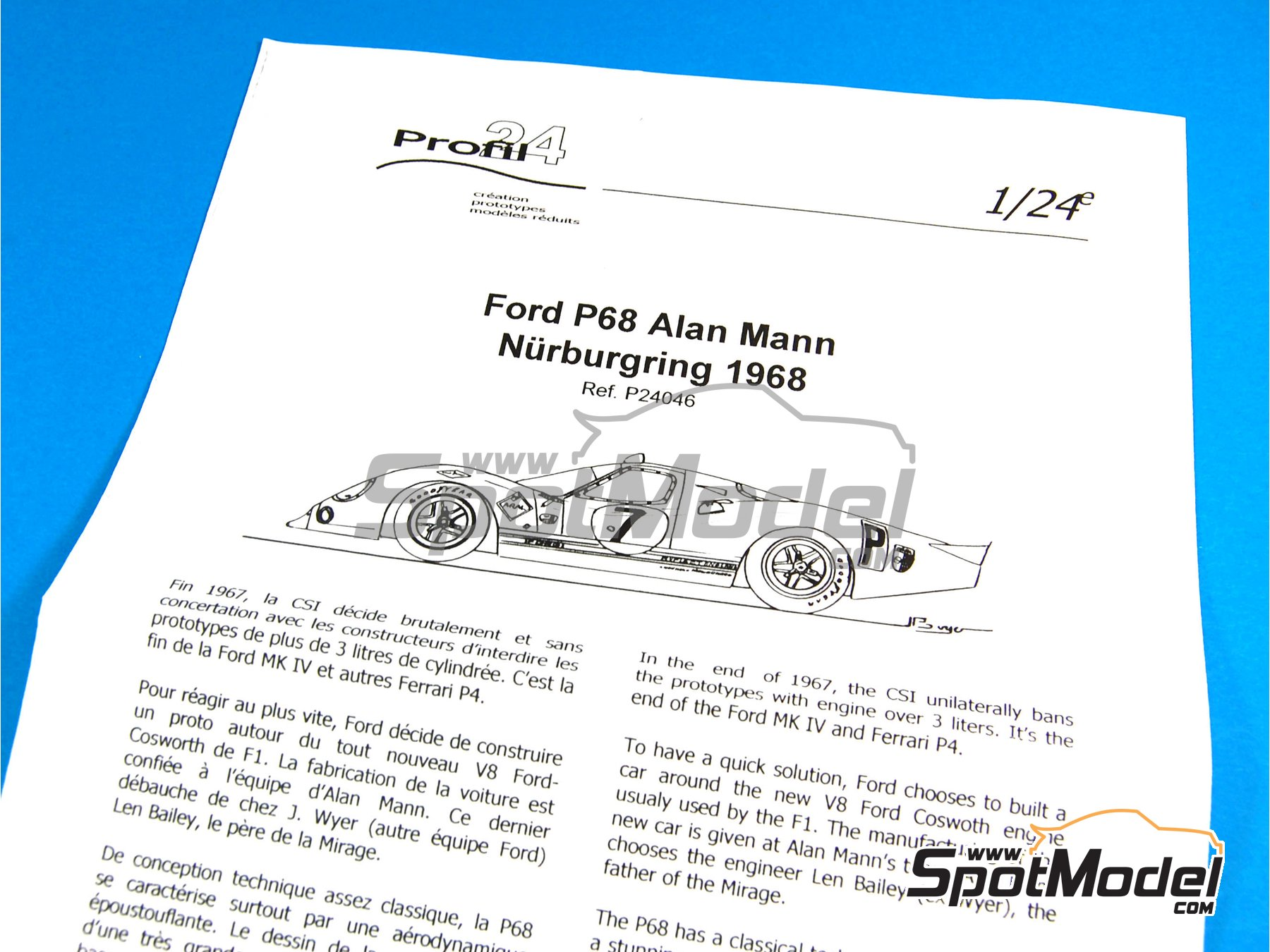 Image 8: Ford P68 Alan Mann - 1000 Kms Nürburgring 1968   Model car kit in 1/24 scale manufactured by Profil24 (ref.P24046)