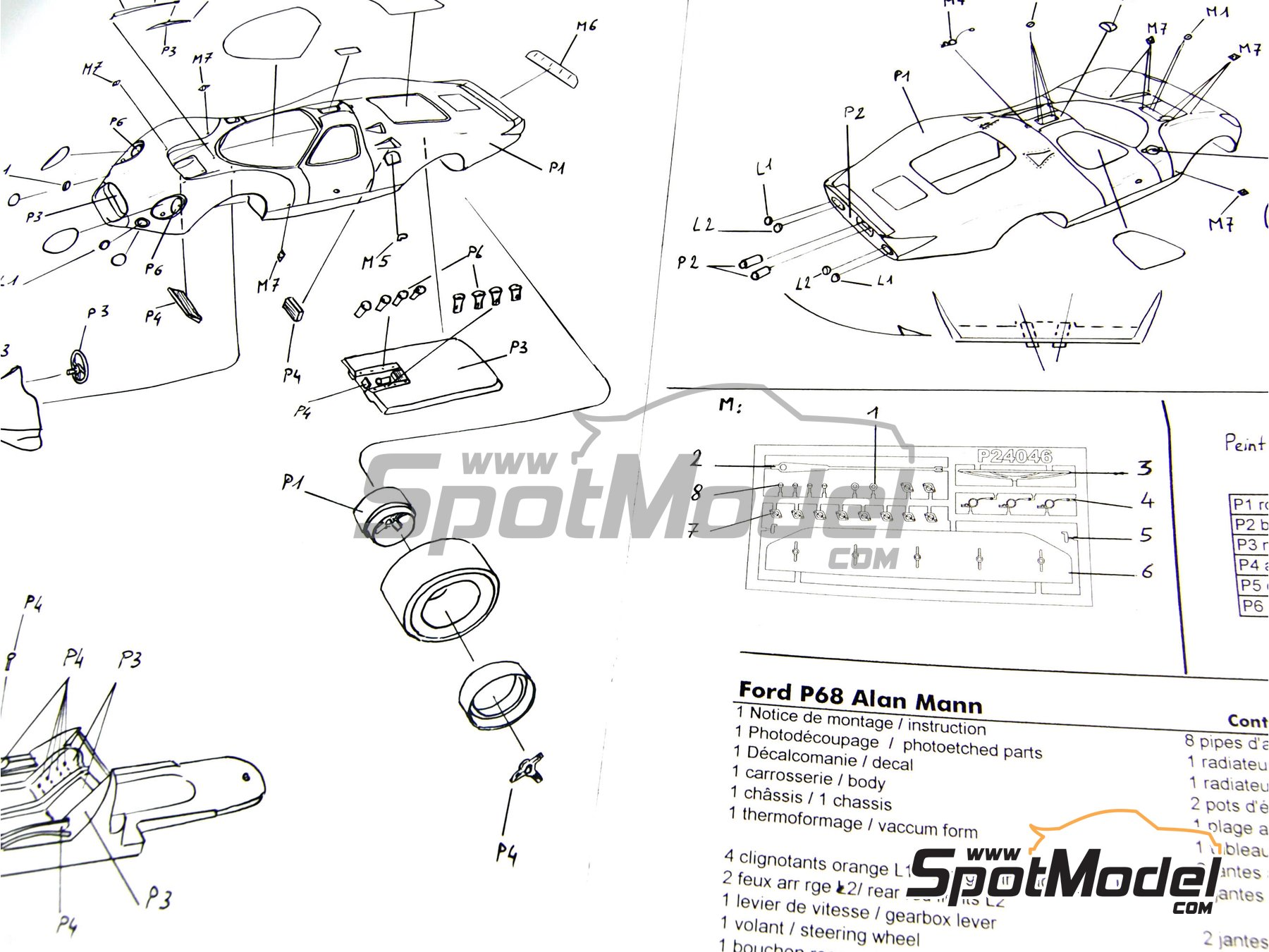 Image 9: Ford P68 Alan Mann - 1000 Kms Nürburgring 1968   Model car kit in 1/24 scale manufactured by Profil24 (ref.P24046)