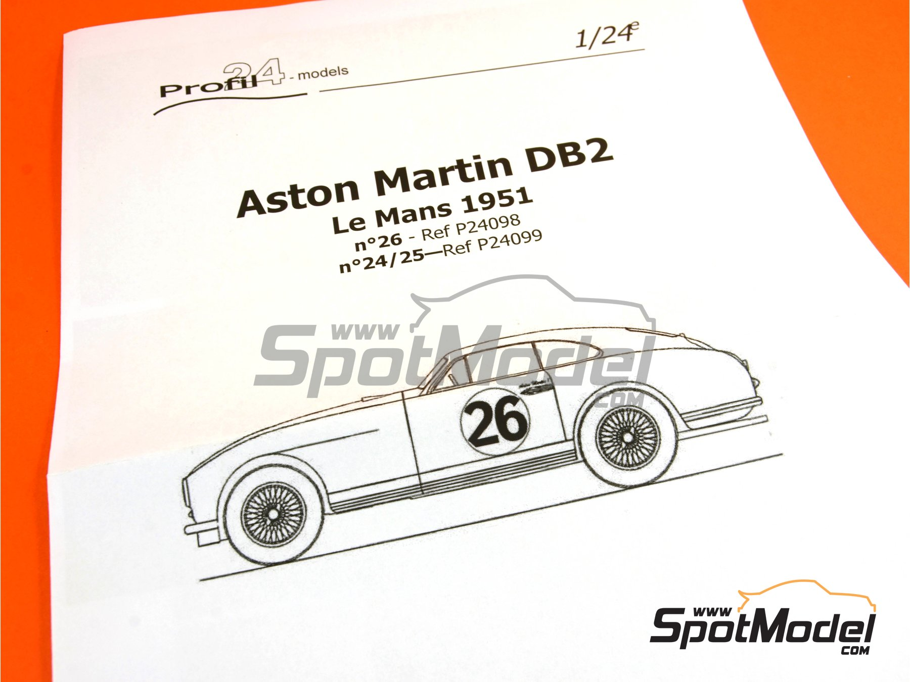 Image 5: Aston Martin DB2 - 24 Hours Le Mans | Model car kit in 1/24 scale manufactured by Profil24 (ref.P24098)