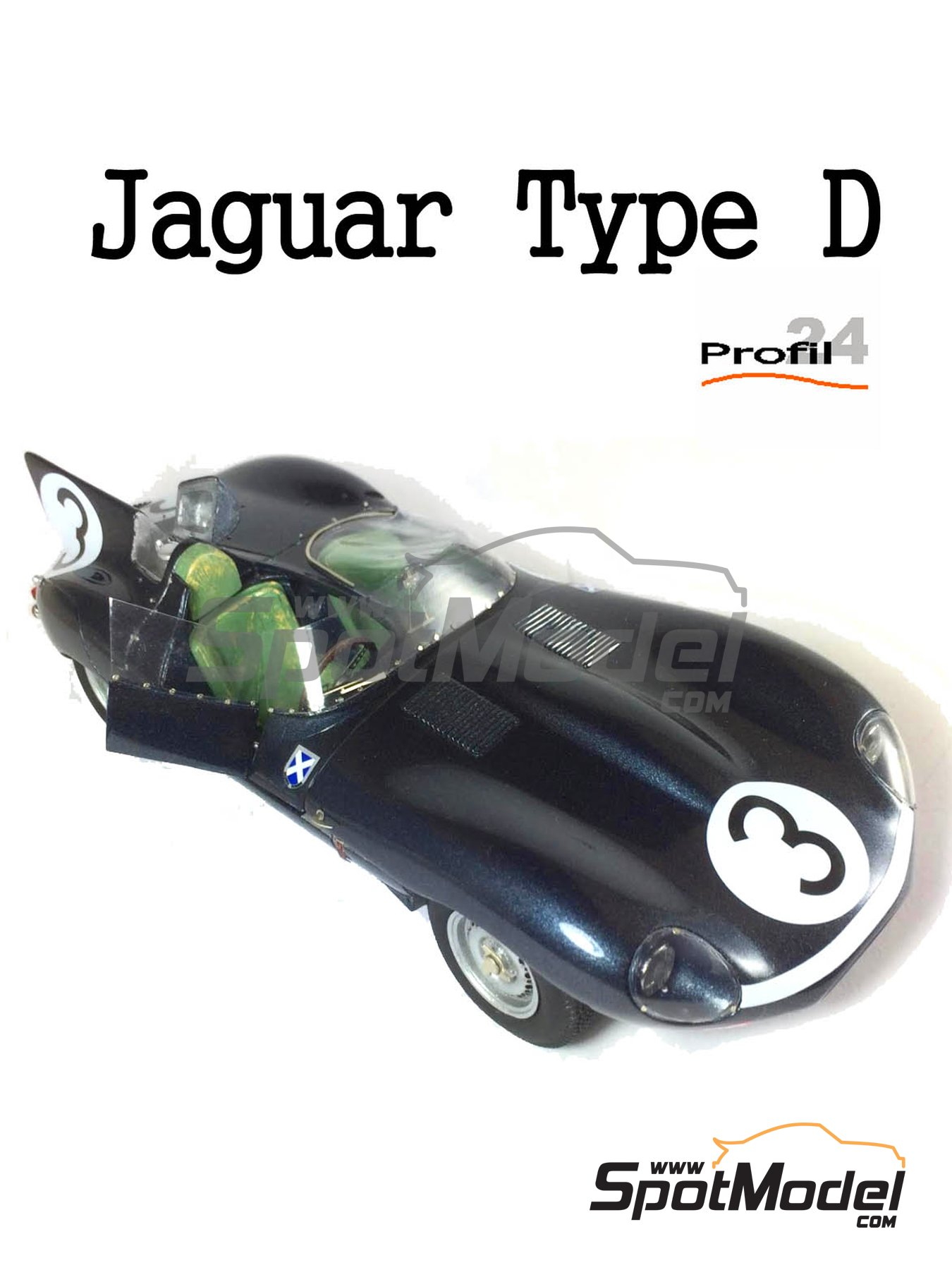 Jaguar D Type - 24 Hours Le Mans 1957 | Model car kit in 1/24 scale manufactured by Profil24 (ref. P24105) image