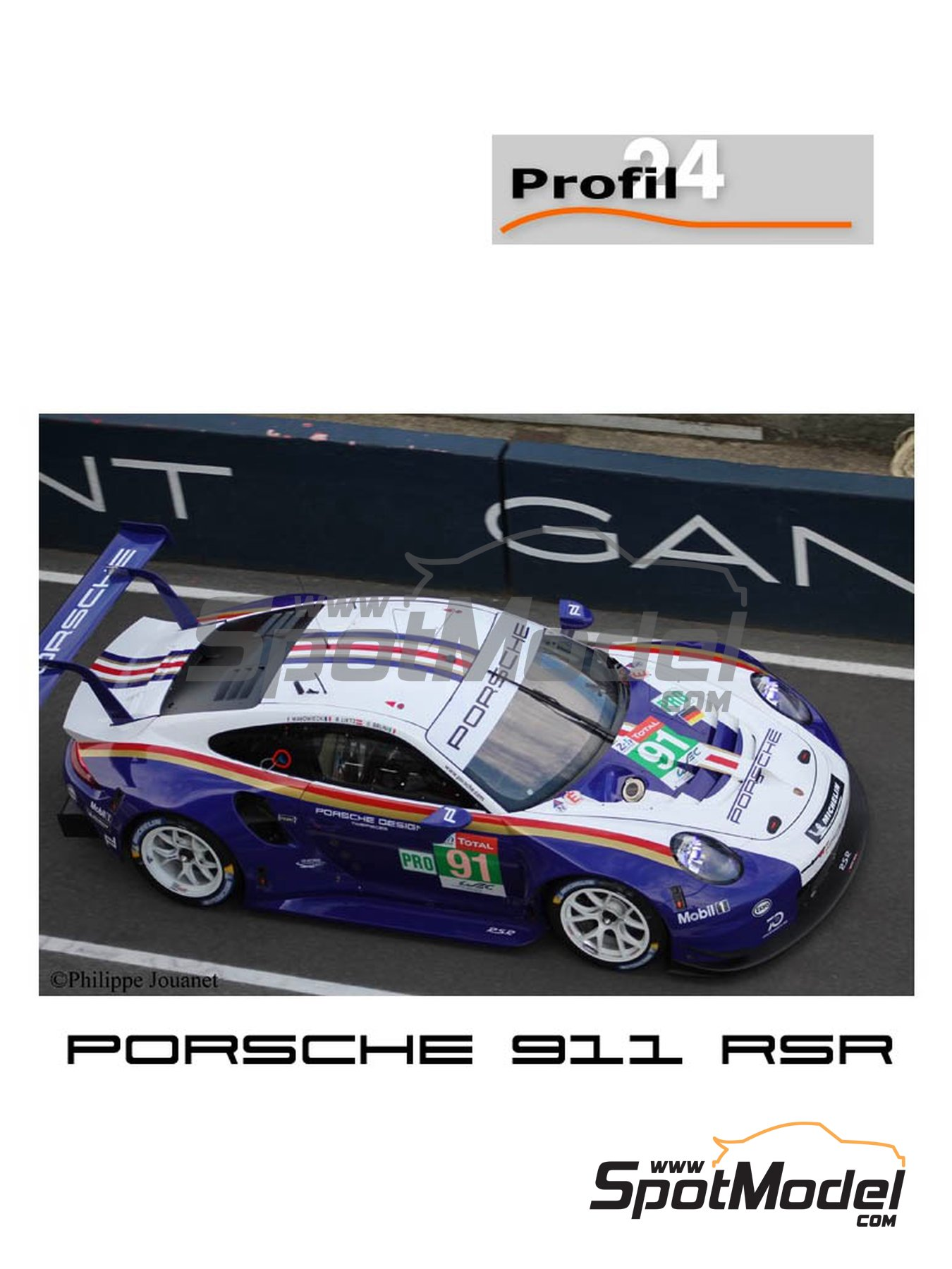 Porsche 911 RSR Porsche Motorsport GT Team Rothmans - 24 Hours Le Mans 2018 | Model car kit in 1/24 scale manufactured by Profil24 (ref. P24111) image