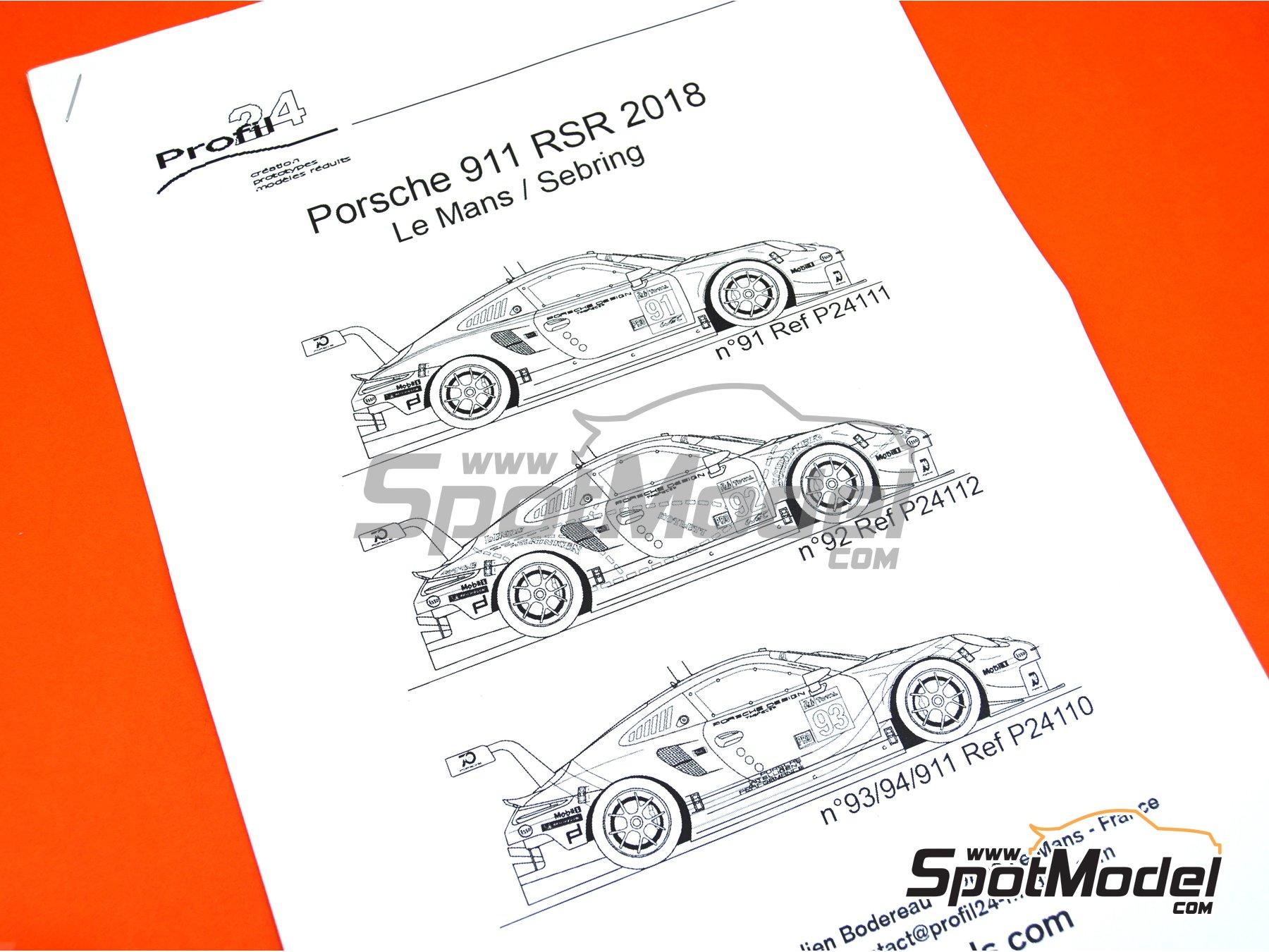Image 4: Porsche 911 RSR Porsche Motorsport GT Team Rothmans - 24 Hours Le Mans 2018 | Model car kit in 1/24 scale manufactured by Profil24 (ref.P24111)