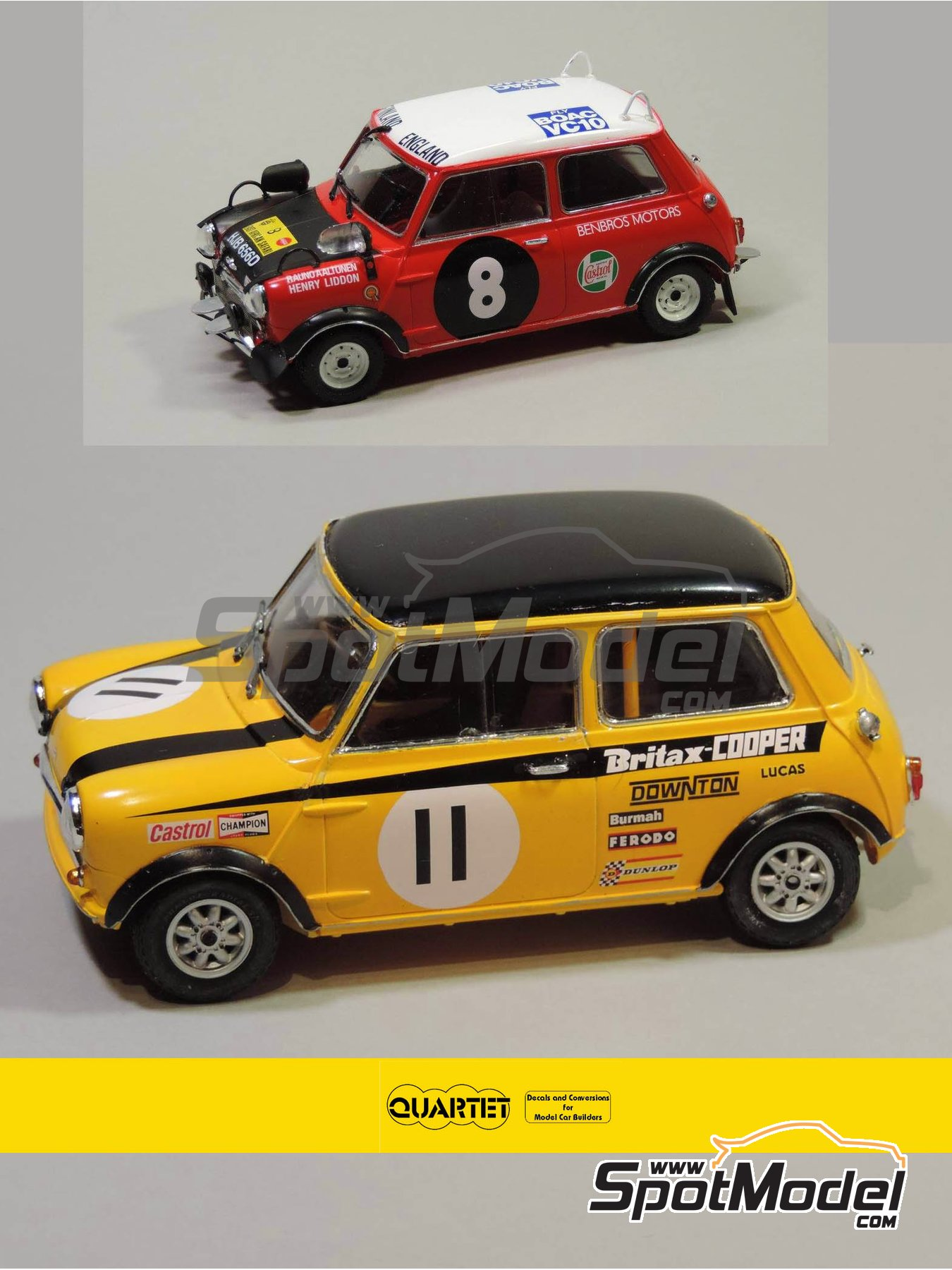 Mini Cooper - Safari Rally, British Touring Car Championship (BTCC) 1967 and 1969 | Marking / livery in 1/24 scale manufactured by Quartet (ref. D-16) image