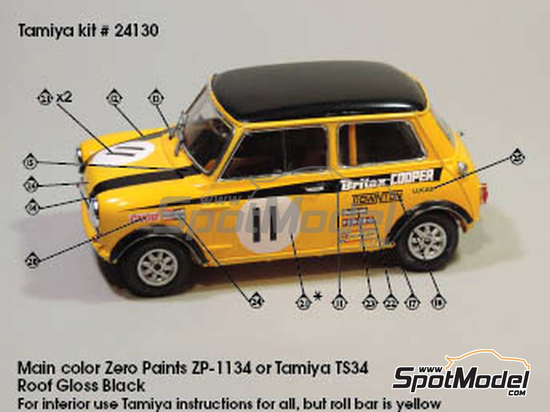 Image 1: Mini Cooper - Safari Rally, British Touring Car Championship (BTCC) 1967 and 1969 | Marking / livery in 1/24 scale manufactured by Quartet (ref. D-16)
