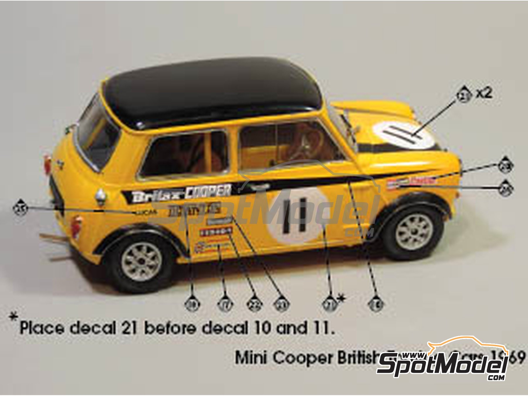 Image 2: Mini Cooper - Safari Rally, British Touring Car Championship (BTCC) 1967 and 1969 | Marking / livery in 1/24 scale manufactured by Quartet (ref. D-16)