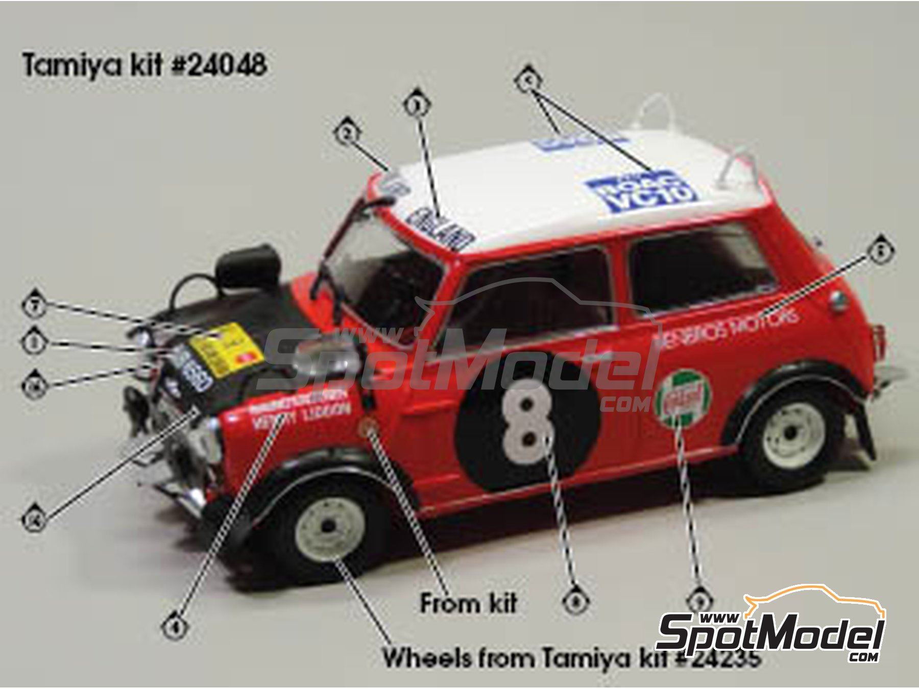 Image 3: Mini Cooper - Safari Rally, British Touring Car Championship (BTCC) 1967 and 1969 | Marking / livery in 1/24 scale manufactured by Quartet (ref. D-16)