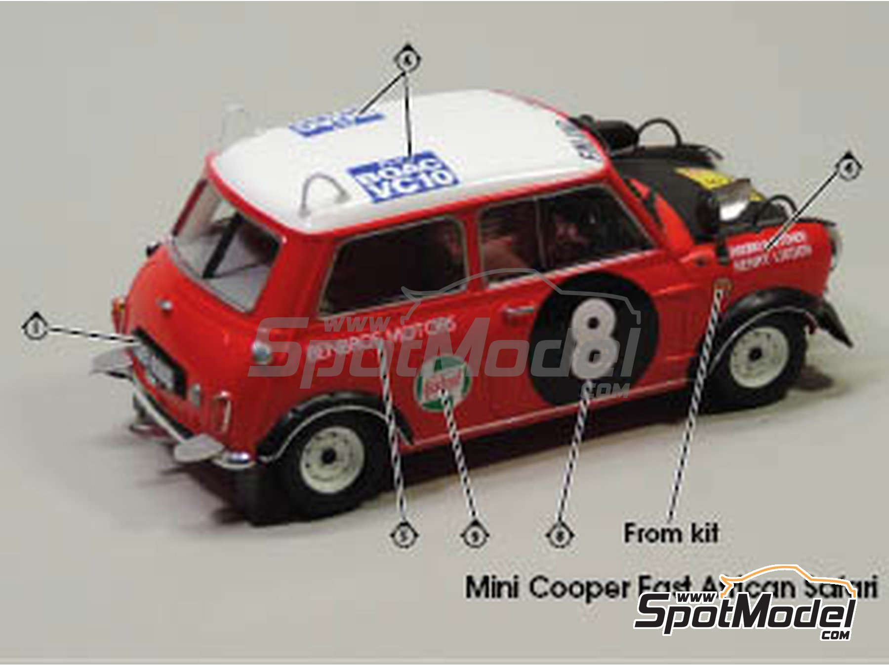 Image 4: Mini Cooper - Safari Rally, British Touring Car Championship (BTCC) 1967 and 1969 | Marking / livery in 1/24 scale manufactured by Quartet (ref. D-16)