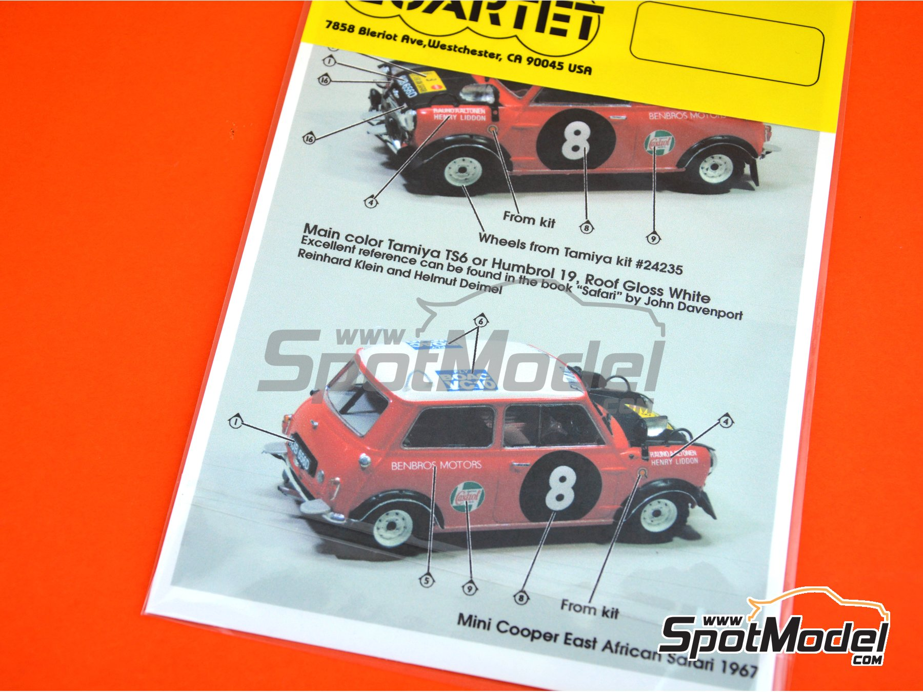 Image 10: Mini Cooper - Safari Rally, British Touring Car Championship (BTCC) 1967 and 1969 | Marking / livery in 1/24 scale manufactured by Quartet (ref. D-16)