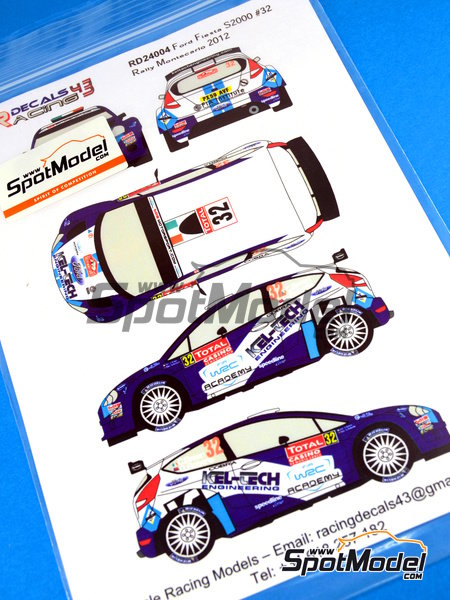 Ford Fiesta S2000 Kel-Tech - Montecarlo Rally 2012 | Decals in 1/24 scale manufactured by Racing Decals 43 (ref. RD24-004) image