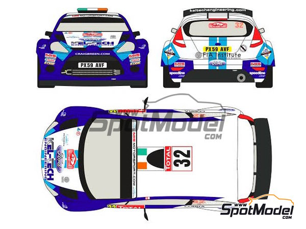 Image 1: Ford Fiesta S2000 Kel-Tech - Montecarlo Rally 2012 | Decals in 1/24 scale manufactured by Racing Decals 43 (ref. RD24-004)