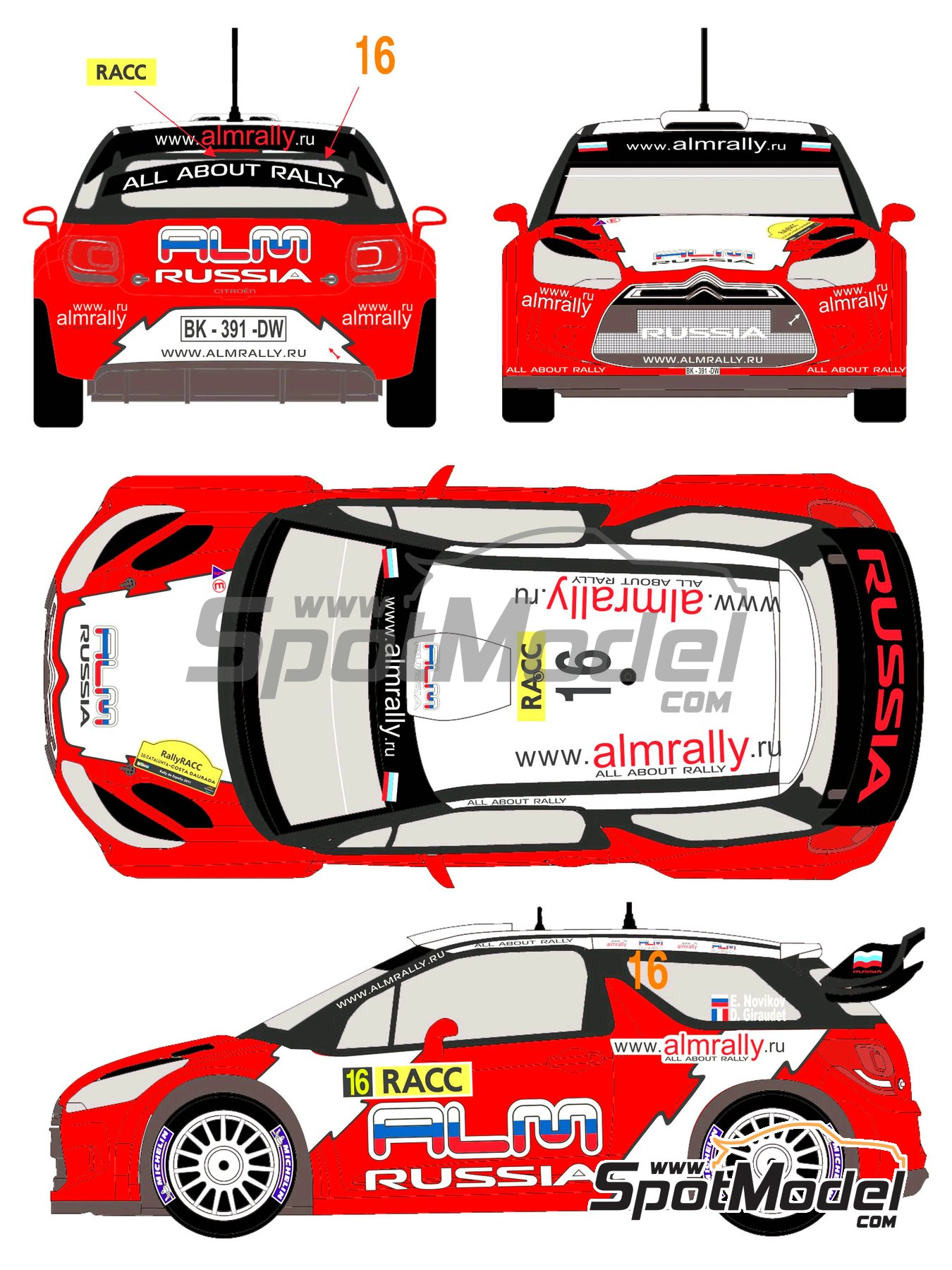 Citroen DS3 WRC Novitec ALM Russia - Catalunya Costa Dorada RACC Rally 2012 | Decals in 1/24 scale manufactured by Racing Decals 43 (ref. RD24-006) image