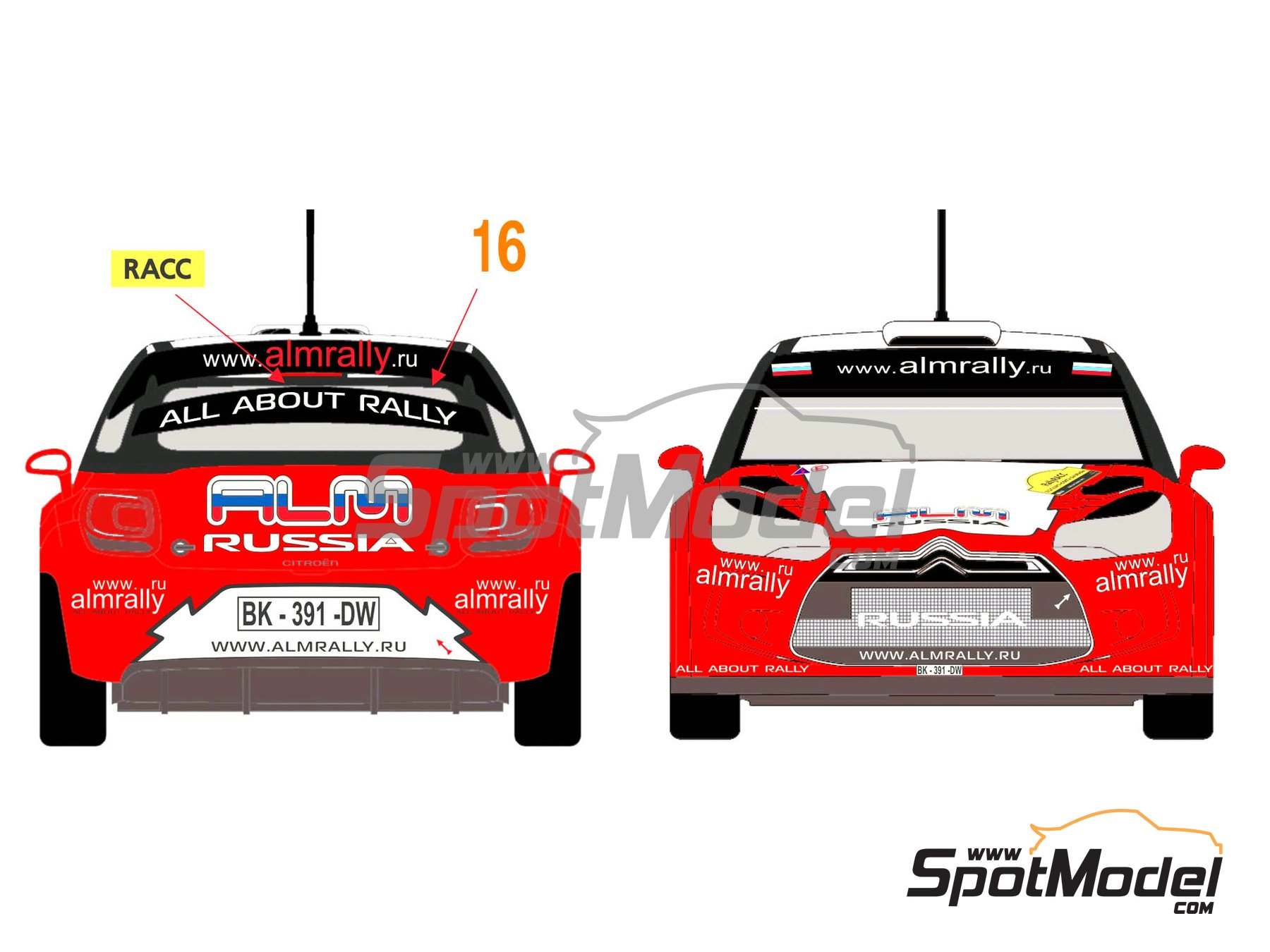 Image 1: Citroen DS3 WRC Novitec ALM Russia - Catalunya Costa Dorada RACC Rally 2012 | Decals in 1/24 scale manufactured by Racing Decals 43 (ref. RD24-006)