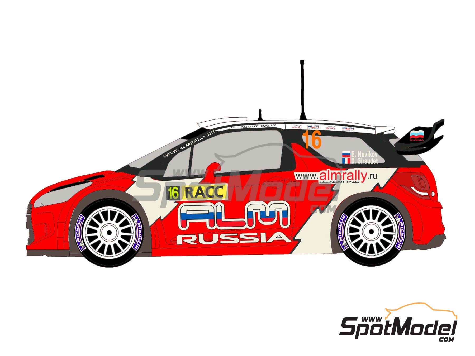 Image 3: Citroen DS3 WRC Novitec ALM Russia - Catalunya Costa Dorada RACC Rally 2012 | Decals in 1/24 scale manufactured by Racing Decals 43 (ref. RD24-006)