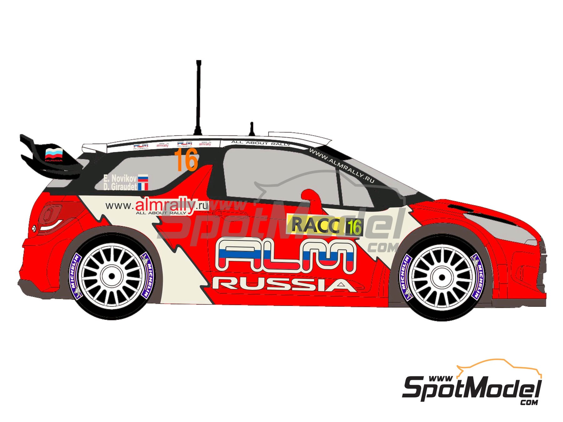 Image 4: Citroen DS3 WRC Novitec ALM Russia - Catalunya Costa Dorada RACC Rally 2012 | Decals in 1/24 scale manufactured by Racing Decals 43 (ref. RD24-006)