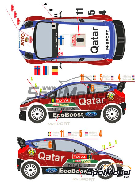 Ford Fiesta WRC Qatar - Montecarlo Rally 2013 | Decals in 1/24 scale manufactured by Racing Decals 43 (ref. RD24-009) image