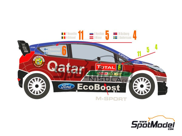 Image 1: Ford Fiesta WRC Qatar - Montecarlo Rally 2013 | Decals in 1/24 scale manufactured by Racing Decals 43 (ref. RD24-009)