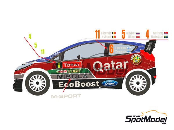 Image 2: Ford Fiesta WRC Qatar - Montecarlo Rally 2013 | Decals in 1/24 scale manufactured by Racing Decals 43 (ref. RD24-009)