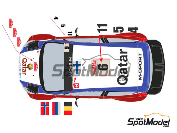 Image 3: Ford Fiesta WRC Qatar - Montecarlo Rally 2013 | Decals in 1/24 scale manufactured by Racing Decals 43 (ref. RD24-009)