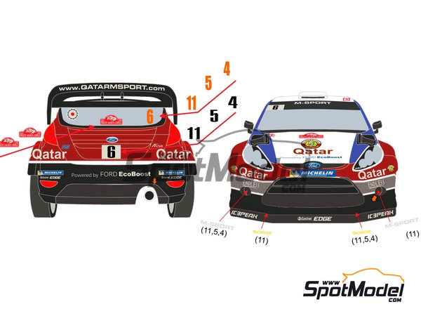 Image 4: Ford Fiesta WRC Qatar - Montecarlo Rally 2013 | Decals in 1/24 scale manufactured by Racing Decals 43 (ref. RD24-009)
