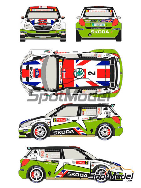 Skoda Fabia S2000 Evo Total - Ypres Rally 2012 | Decals in 1/24 scale manufactured by Racing Decals 43 (ref. RD24-010) image