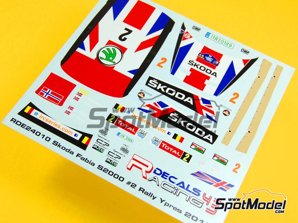Image 4: Skoda Fabia S2000 Evo Total - Ypres Rally 2012 | Decals in 1/24 scale manufactured by Racing Decals 43 (ref. RD24-010)
