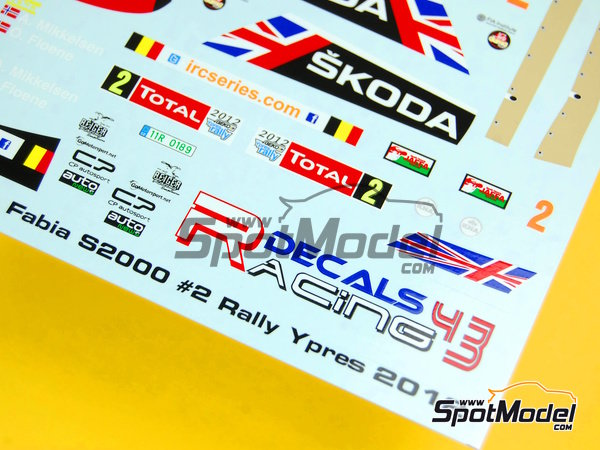 Image 8: Skoda Fabia S2000 Evo Total - Ypres Rally 2012 | Decals in 1/24 scale manufactured by Racing Decals 43 (ref. RD24-010)