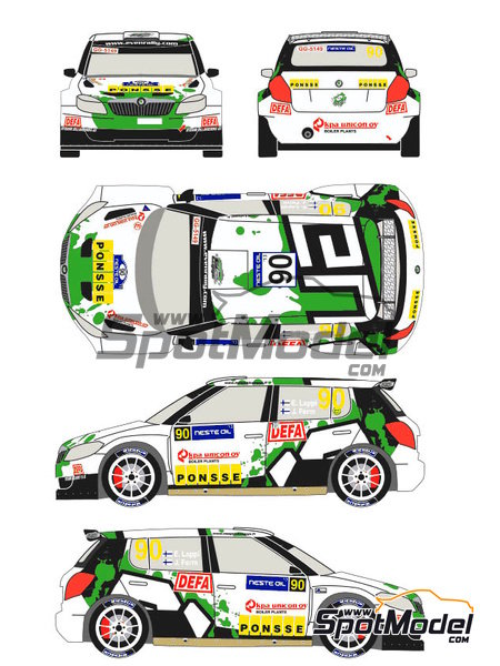 Skoda Fabia S2000 Evo Ponsse - 1000 Lakes Finland Rally 2013 | Decals in 1/24 scale manufactured by Racing Decals 43 (ref. RD24-012) image