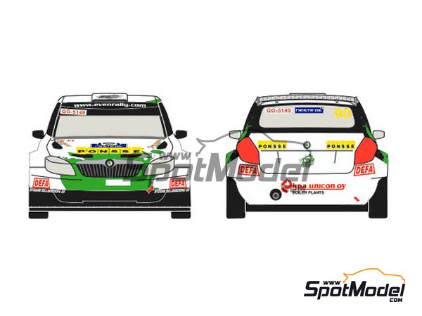 Image 1: Skoda Fabia S2000 Evo Ponsse - 1000 Lakes Finland Rally 2013 | Decals in 1/24 scale manufactured by Racing Decals 43 (ref. RD24-012)